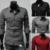 Men's Fashion Designer Military Slim Dress Shirts Tops