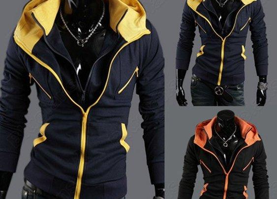 NWT Men's Slim Blazers Coats Zip UP Hoodies Jackets Casual SWEATER Outerwear Black Navy