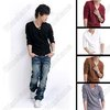 Mens Fashion Stylish V Collar Best Dress Long Sleeve Polo Shirt Sweater