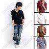 Mens Fashion Stylish V Collar Best Dress Long Sleeve Polo Shirt Sweater