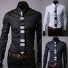 New Mens Luxury Stylish Casual Dress Slim Fit Rhombus Shirts Black White Navy