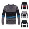 Mens Cotton Stylish Stripe Buttons Long Sleeve V-Neck Casual Knit Slim Sweater