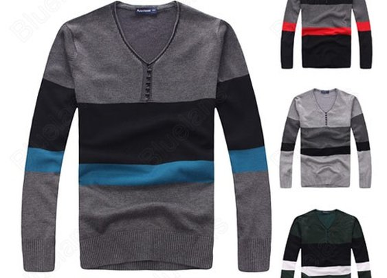 Mens Cotton Stylish Stripe Buttons Long Sleeve V-Neck Casual Knit Slim Sweater