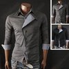 New Mens Slim Fit Casual Stylish Long Sleeve Cotton Black Dress Shirts Tops 027