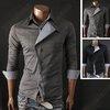 New Mens Slim Fit Casual Stylish Long Sleeve Cotton Black Dress Shirts Tops 027