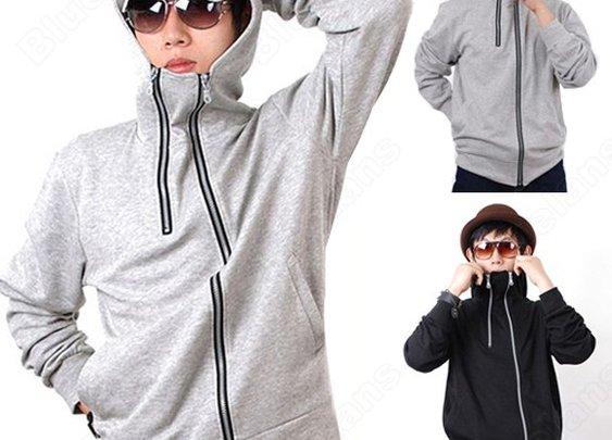 New Unique Zipper Hooded Jacket Casual Men's Fashion Sweater T-shirt Coat