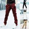 Men Fashion Korean Style Slim Fit Pocket Design Casual Pants with Belt 5 Colors