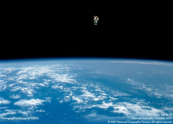 In 1984, Bruce McCandless II became the first person to walk untethered in space. His jet-pack-powered stroll near the shuttle Challenger was one mile