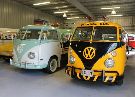 Vintage Volkswagen School Bus and a 1963 VW pickup truck