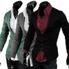 Mens Slim Big V Neckline Two Buttons Long Sleeve Knitwear Tops Blouse Cardigan