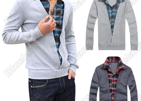 Mens Casual Fashion Stylish Shirt Collars Best Dress Long Sleeve All-match Sweater