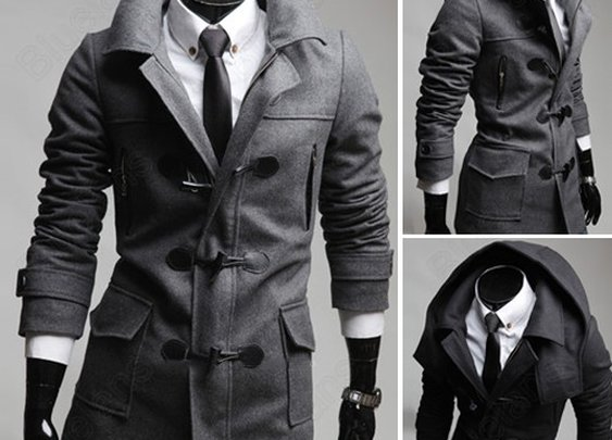British Style Classic Men's Winter Horn Button Removable Hooded Thicken Jacket Trench