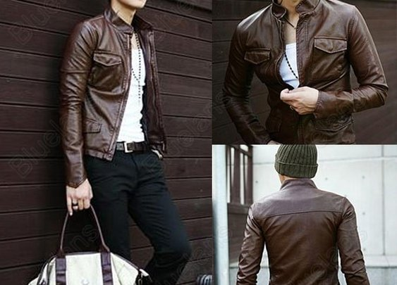 Men's Stylish Comfort Slim Fit Faux Leather Jackets 4 Pockets Coats