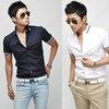 Mens Slim Fit Designer Short Sleeve Dress Casual Cotton Stripe Collar Shirts 023