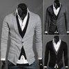 Mens Casual Fashion Stylish Shirt Collars Best Dress Long Sleeve Slim Fit Sweater Coat