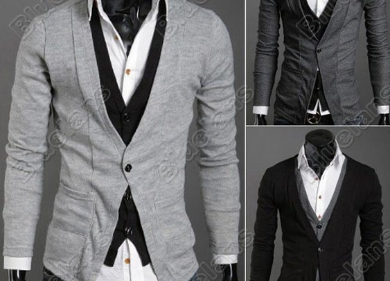 Mens Casual Fashion Stylish Shirt Collars Best Dress Long Sleeve Slim Fit Sweater Coat