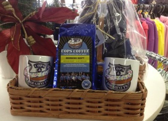 Cops Coffee Gift Basket with Mugs
