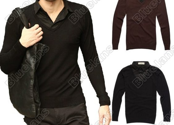 Mens Casual Fashion Stylish Shirt Collars Best Dress Long Sleeve Slim Fit Sweater