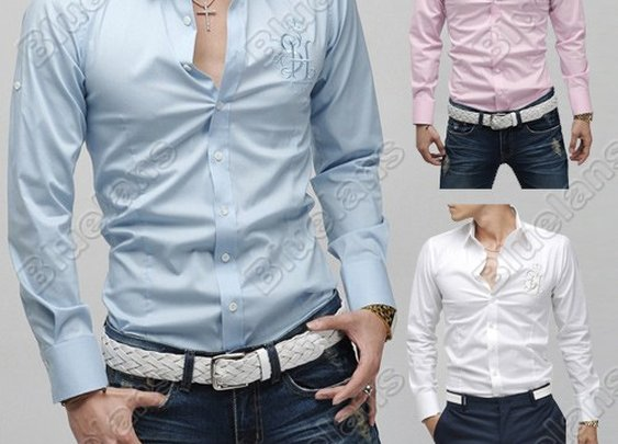 Mens Casual Slim Leisure fit Dress Formal Shirt 3size Blue Pink White XS S M