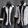 New Mens Luxury Stylish Casual Dress Slim Fit Shirts Black White
