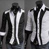 New Mens Luxury Stylish Casual Dress Slim Fit Shirts Black White