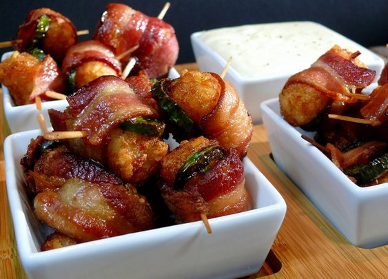 Bacon-Jalapeno Wrapped Tater Tots with Jack Cheese Dipping Sauce