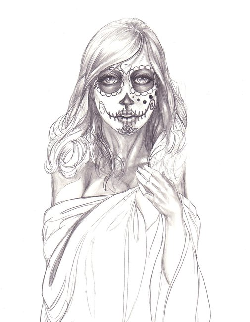 Sugar Skull Girl Drawing