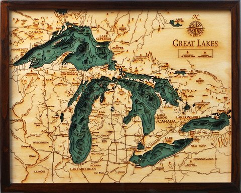 Laser cut underwater topo maps.