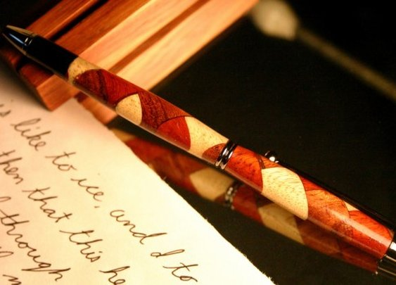 Things People Make - Thing - Wood pen stylus in abstract wood koi pattern