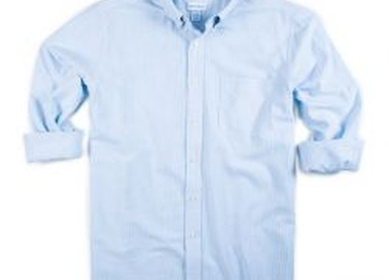Men's Washed Striped Oxford Shirt- Ice Blue- Natural BasiX