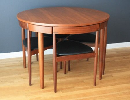 Mid century Modern Danish Hans Olsen Teak Dining Table with Chairs