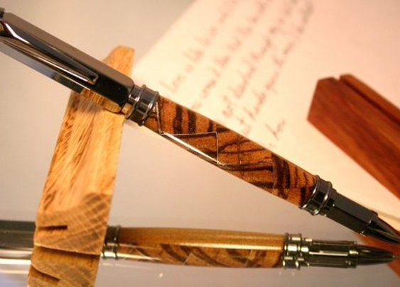 Wood Pen handcrafted zebra and oak woods by Hope & Grace Pens