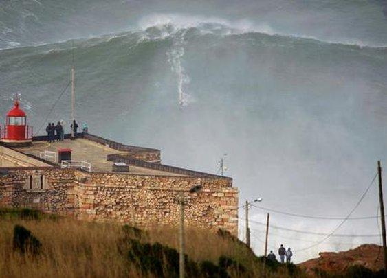 Garrett McNamara earlier today in Portugal.