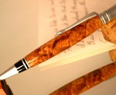 Wood Pen handcrafted hickory cherry scale pattern by Hope & Grace Pens