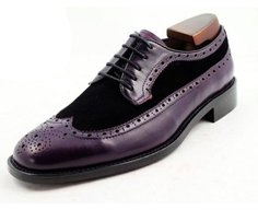 purple calf + black suede longwing derby shoe