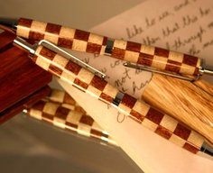 Wood Pen Pencil Set with checker harlequin pattern by Hope & Grace Pens