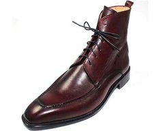 Classic Derby Boot with six eyelets in Burgundy Calf Leather