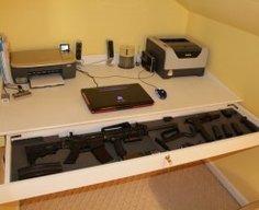 Secret Gun Storage Drawer in Table