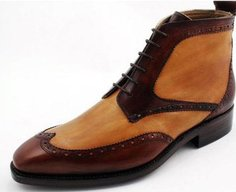 Two-tone wingtip brogue derby boot