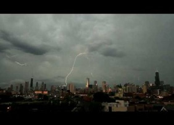 Lightning strikes three of the tallest buildings in Chicago at the same time!