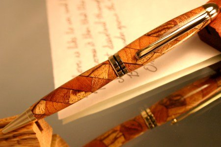 Wood pen in scale abstract triple wood pattern by Hope & Grace Pens