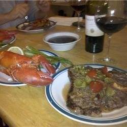 Herb-Crusted Porterhouse Steaks and Boiled Lobster