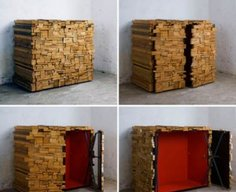 Cabinet Disguised as Wood Pile