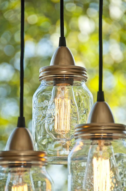 How to make diy industrial mason jar pendant lights for Hanging lights made from mason jars