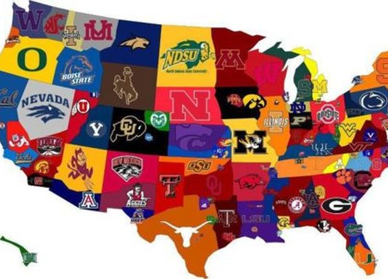 Paul Katcher • Map of the U.S. by college sports team. Love it.