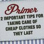 2 Important Tips for Taking Care of Cheap Clothes So They Last - Primer