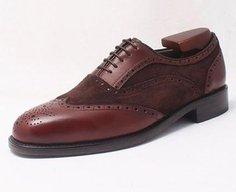 calf & suede leather handmade brogue oxford