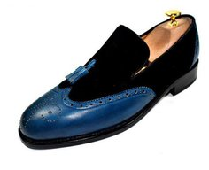 HAND MADEcalfand suede leather wingtiptassel loafer