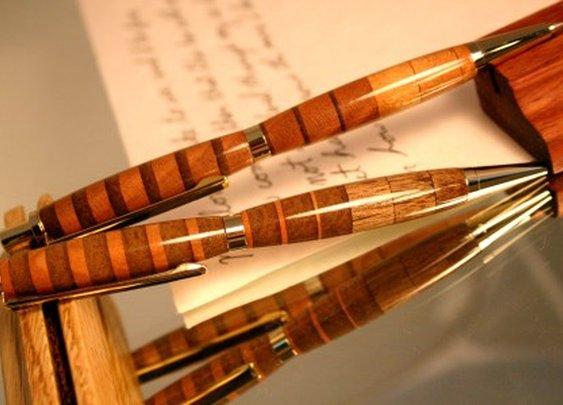 Striped Wood Pen Pencil Set by Hope & Grace Pens