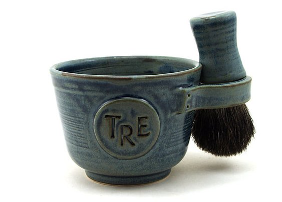 Personalized Shaving Set Black Badger Hair by MiriHardyPottery